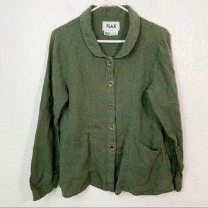 Flax Linen Button Down Green Size Small